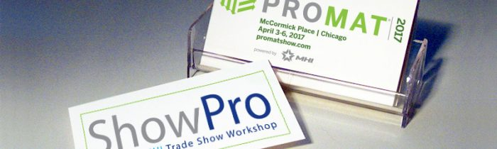 ShowPro & ProMat Logos on Business Cards