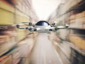 modern 3d drone flying in warehouse